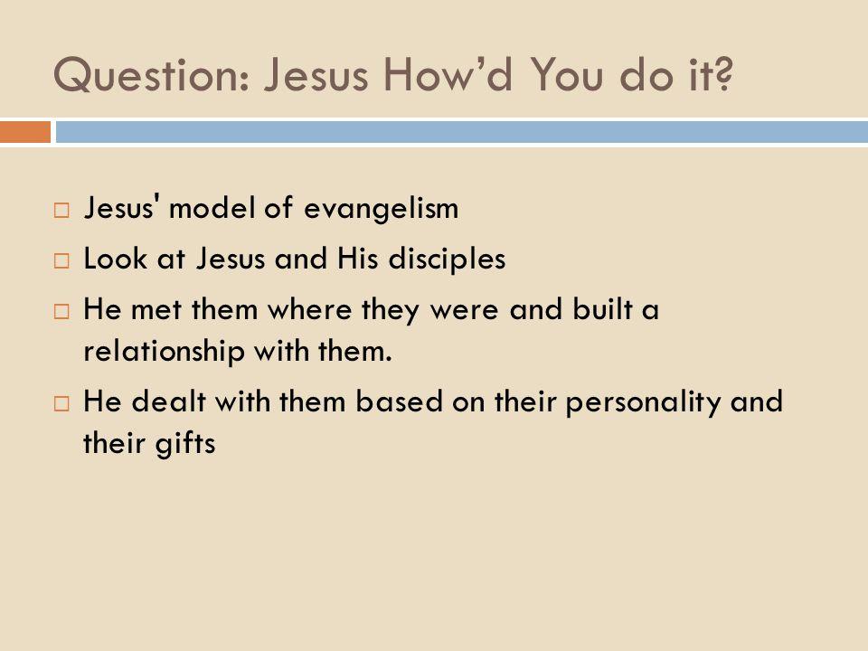 Question: Jesus How'd You do it.