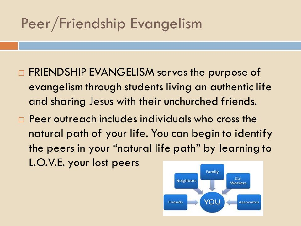 Peer/Friendship Evangelism  FRIENDSHIP EVANGELISM serves the purpose of evangelism through students living an authentic life and sharing Jesus with t