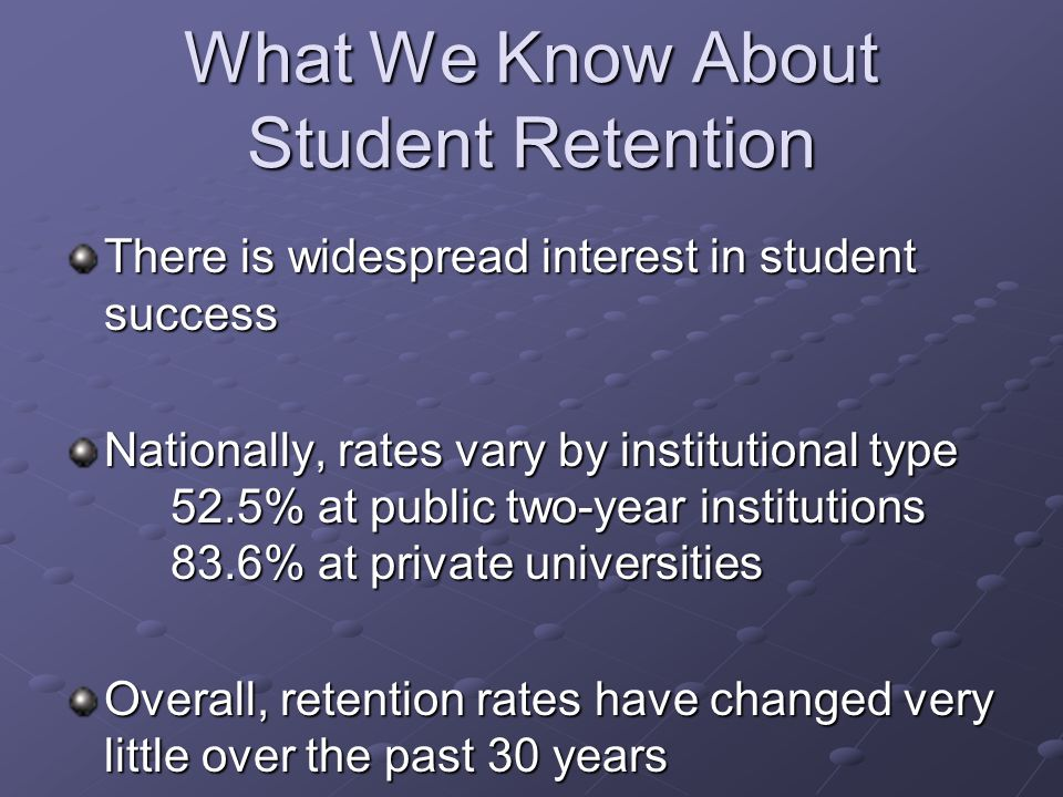What We Know About Student Retention What matters most is our institution's rate Not a goal, rather a by-product Student learning and success = student retention