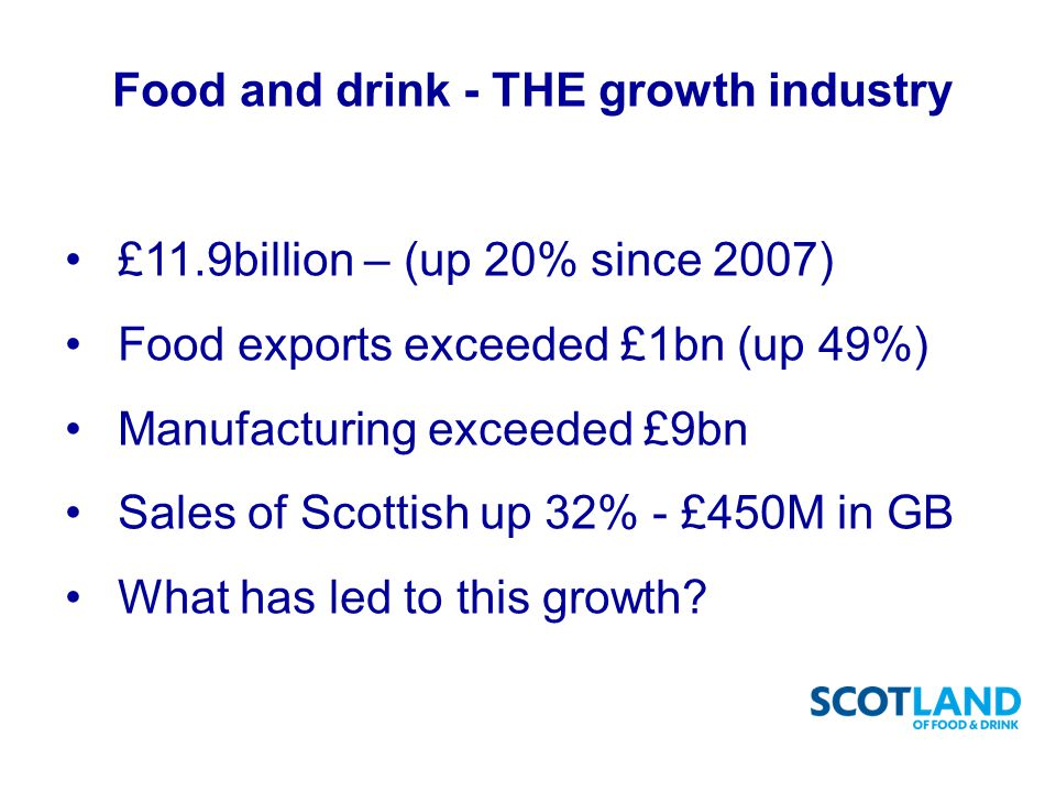 Food and drink - THE growth industry £11.9billion – (up 20% since 2007) Food exports exceeded £1bn (up 49%) Manufacturing exceeded £9bn Sales of Scottish up 32% - £450M in GB What has led to this growth