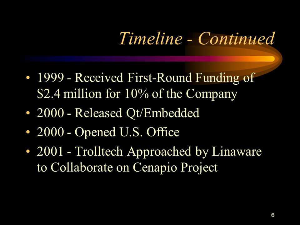 6 Timeline - Continued 1999 - Received First-Round Funding of $2.4 million for 10% of the Company 2000 - Released Qt/Embedded 2000 - Opened U.S. Offic