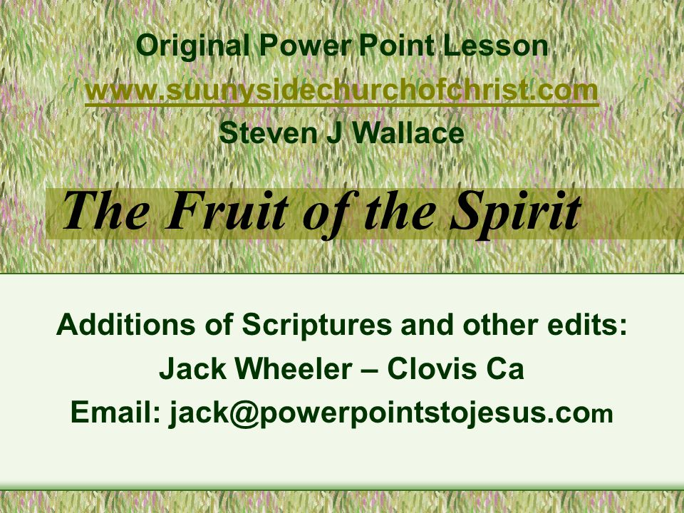 FRUIT OF THE SPIRIT - Control 1 Corinthians 9:24-27 24 Know ye not that they which run in a race run all, but one receives the prize.