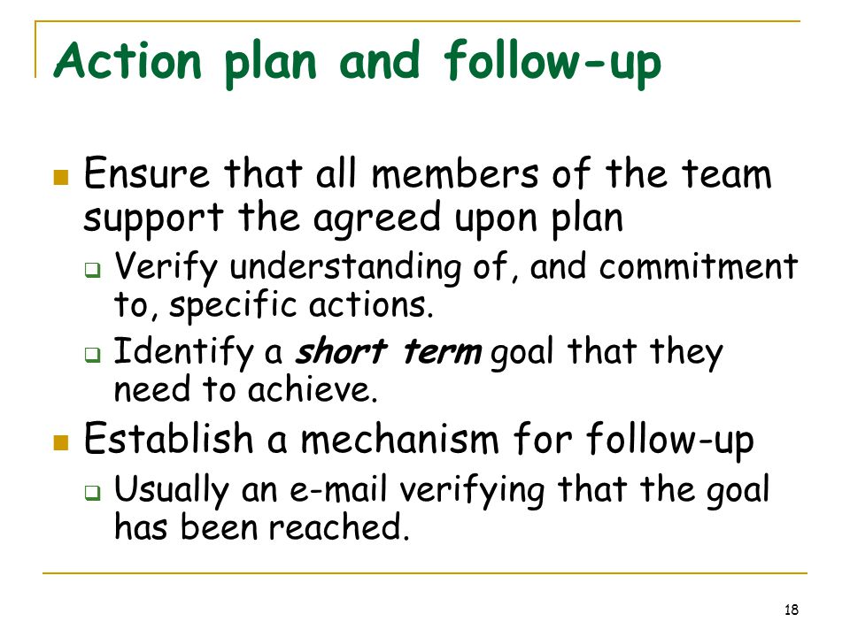 18 Action plan and follow-up Ensure that all members of the team support the agreed upon plan  Verify understanding of, and commitment to, specific a