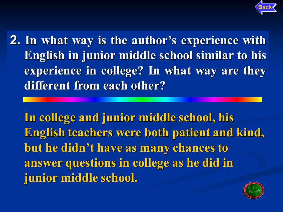 1.What made the author's English learning in junior middle school very successful.