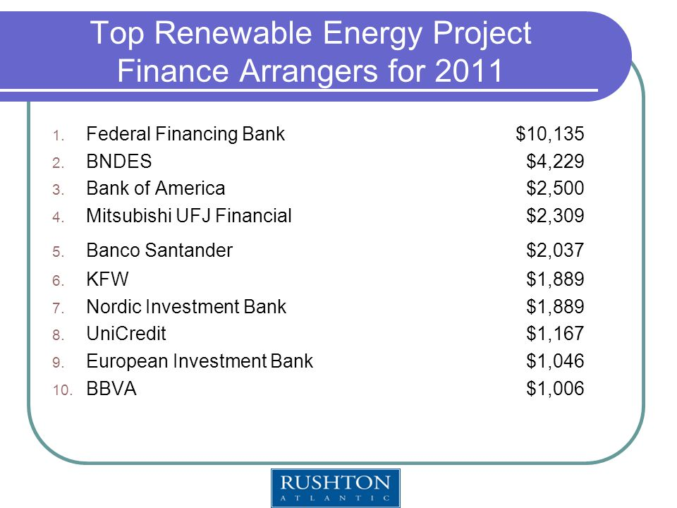 Top Renewable Energy Project Finance Arrangers for 2011 1.