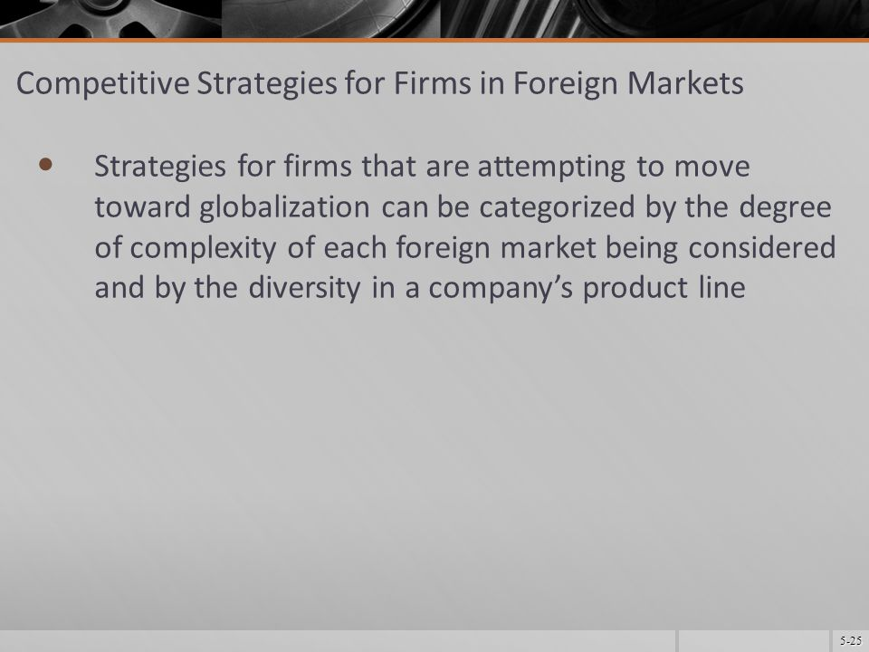 5-25 Competitive Strategies for Firms in Foreign Markets Strategies for firms that are attempting to move toward globalization can be categorized by the degree of complexity of each foreign market being considered and by the diversity in a company's product line