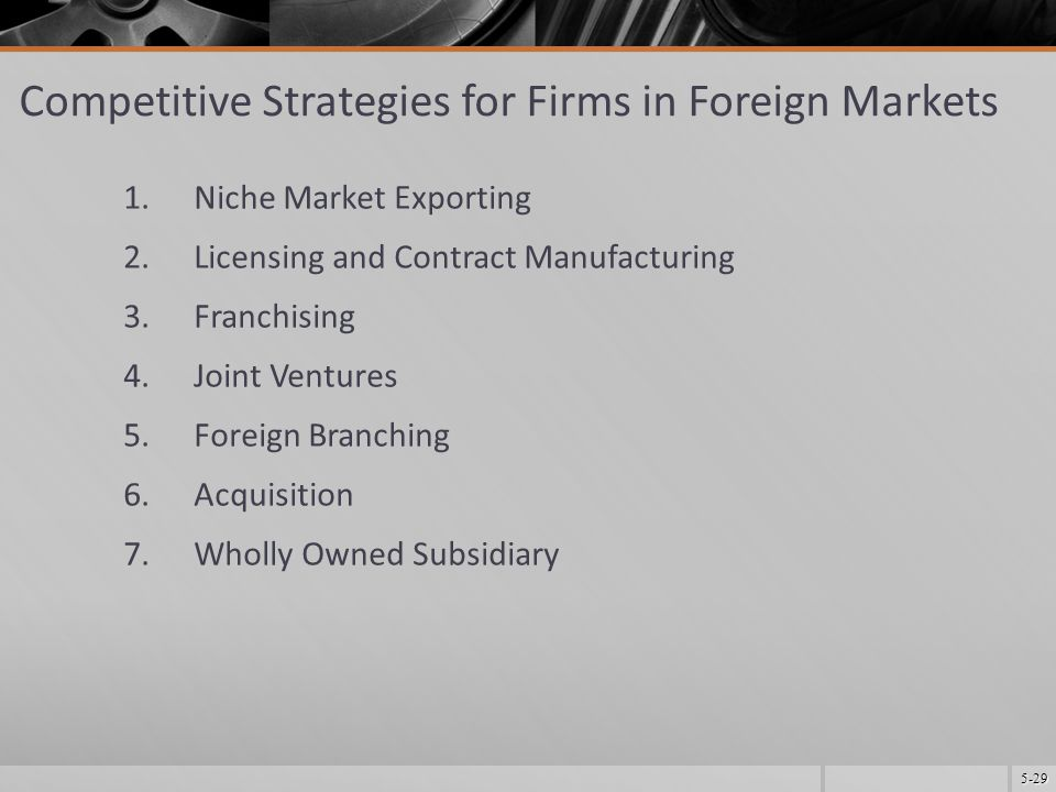 5-29 Competitive Strategies for Firms in Foreign Markets 1.Niche Market Exporting 2.Licensing and Contract Manufacturing 3.Franchising 4.Joint Ventures 5.Foreign Branching 6.Acquisition 7.Wholly Owned Subsidiary