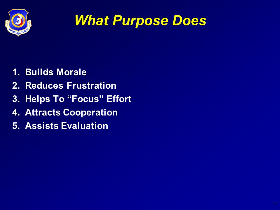 11 What Purpose Does 1. Builds Morale 2. Reduces Frustration 3.