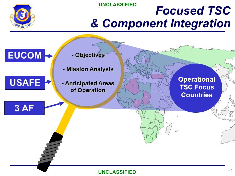 45 ? ? Focused TSC & Component Integration UNCLASSIFIED Operational TSC Focus Countries - Objectives - Mission Analysis - Anticipated Areas of Operati