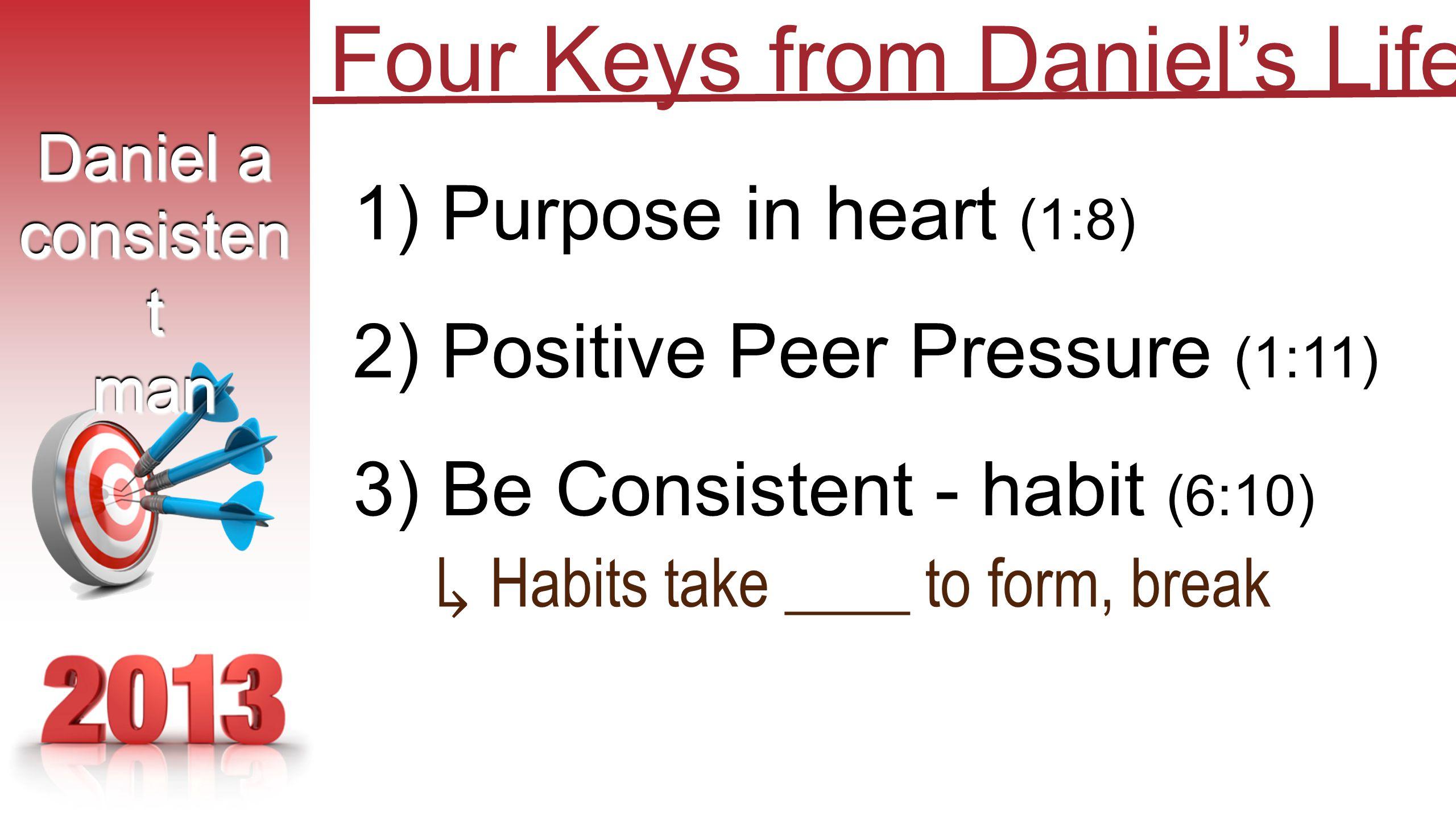 1) Purpose in heart (1:8) 2) Positive Peer Pressure (1:11) 3) Be Consistent - habit (6:10) Daniel a consisten t man Daniel a consisten t man Four Keys from Daniel's Life ↳ Habits take ____ to form, break