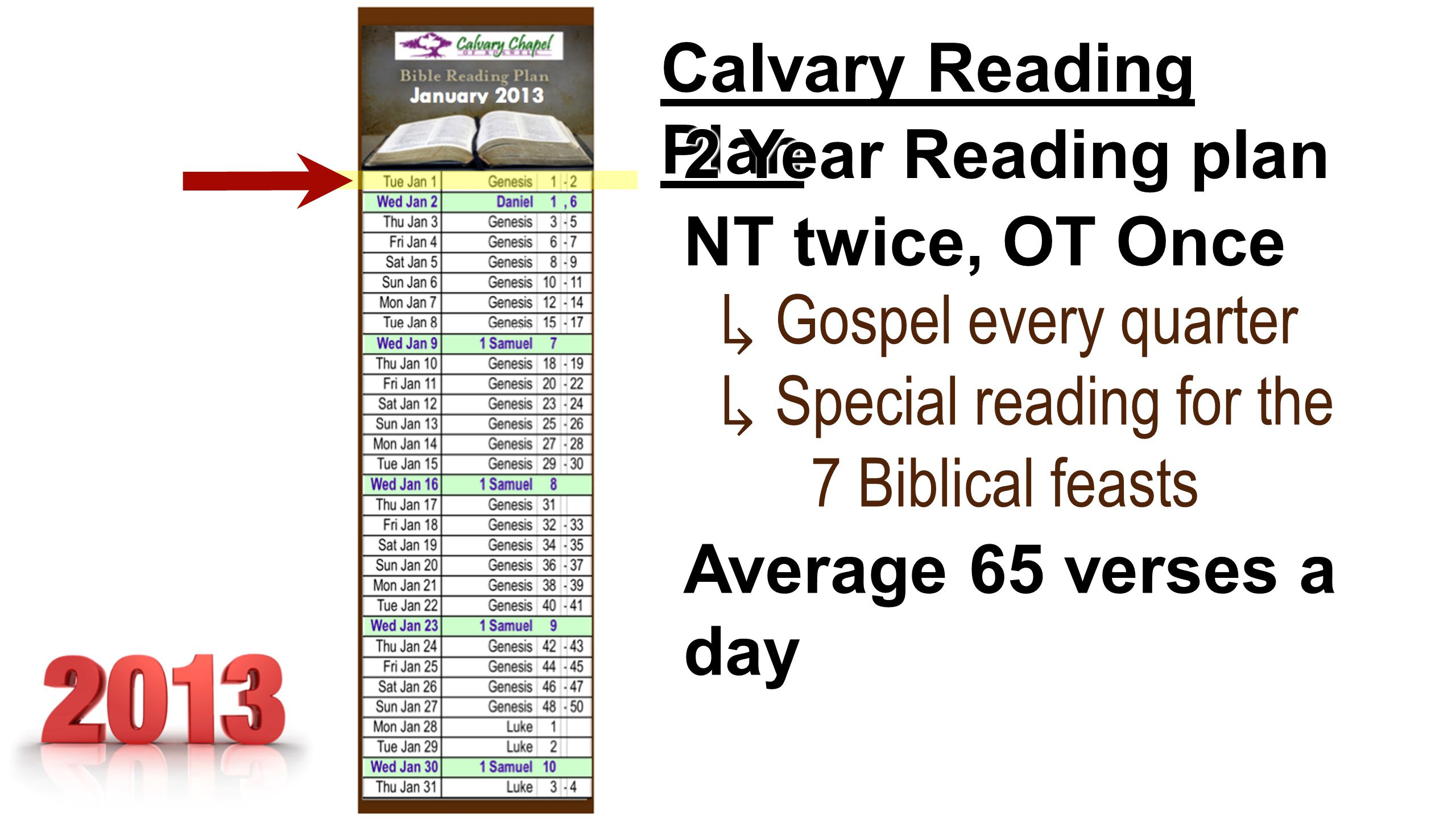 Calvary Reading Plan 2 Year Reading plan NT twice, OT Once ↳ Gospel every quarter ↳ Special reading for the 7 Biblical feasts 7 Biblical feasts ↳ Spec