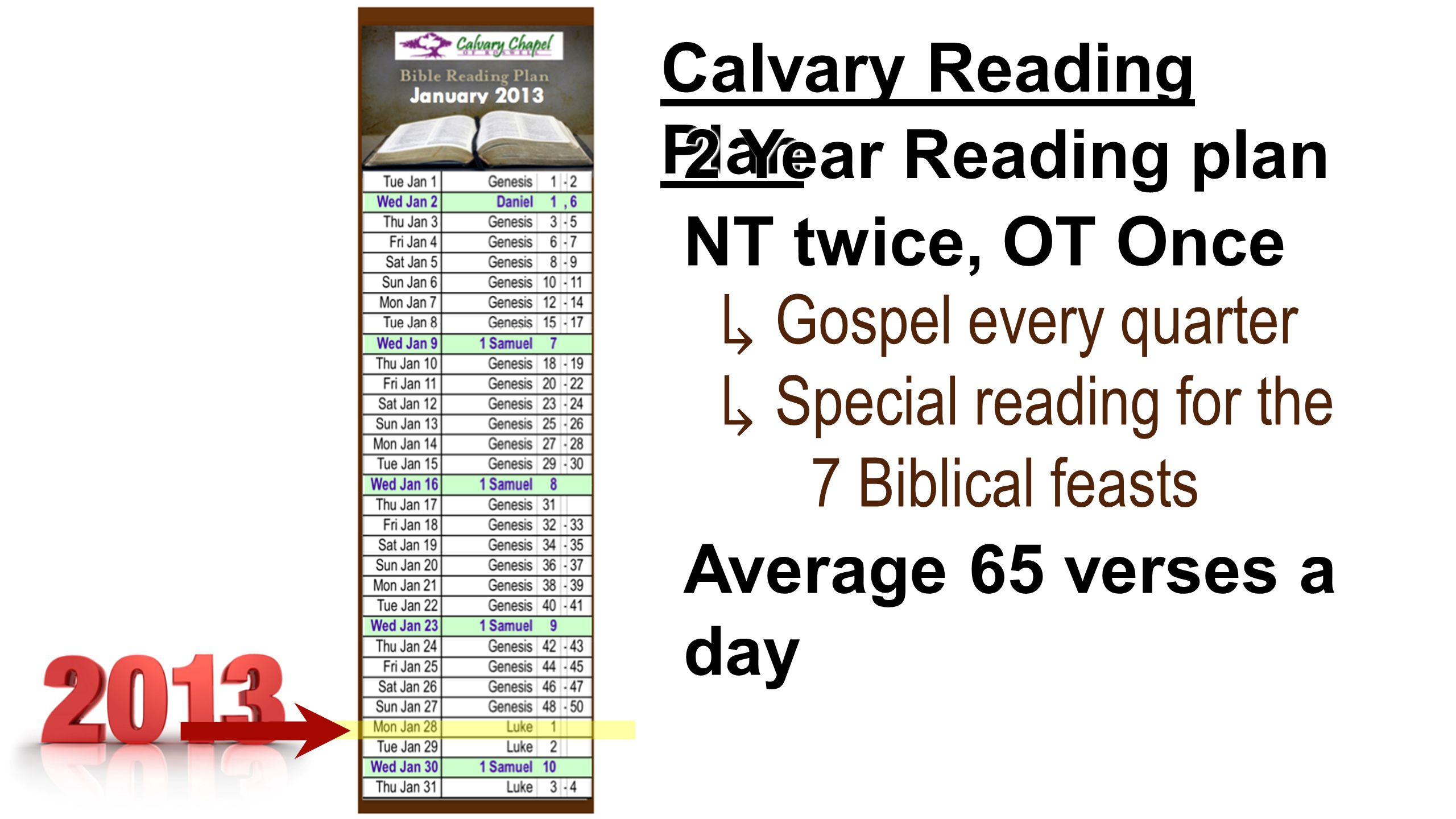 Calvary Reading Plan 2 Year Reading plan NT twice, OT Once ↳ Gospel every quarter ↳ Special reading for the 7 Biblical feasts 7 Biblical feasts ↳ Special reading for the 7 Biblical feasts 7 Biblical feasts Average 65 verses a day