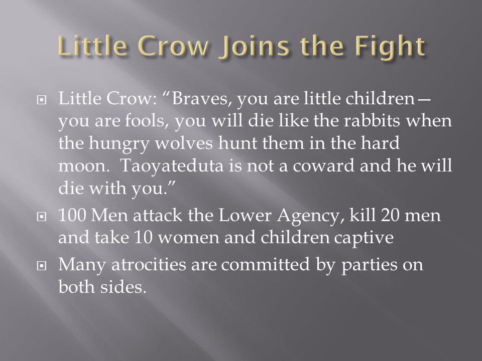  Little Crow: Braves, you are little children— you are fools, you will die like the rabbits when the hungry wolves hunt them in the hard moon.