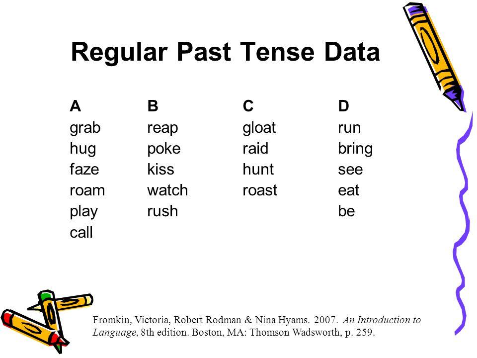 Regular Past Tense Data ABC D grabreapgloat run hugpokeraid bring fazekisshuntsee roam watch roast eat play rush be call Fromkin, Victoria, Robert Rodman & Nina Hyams.