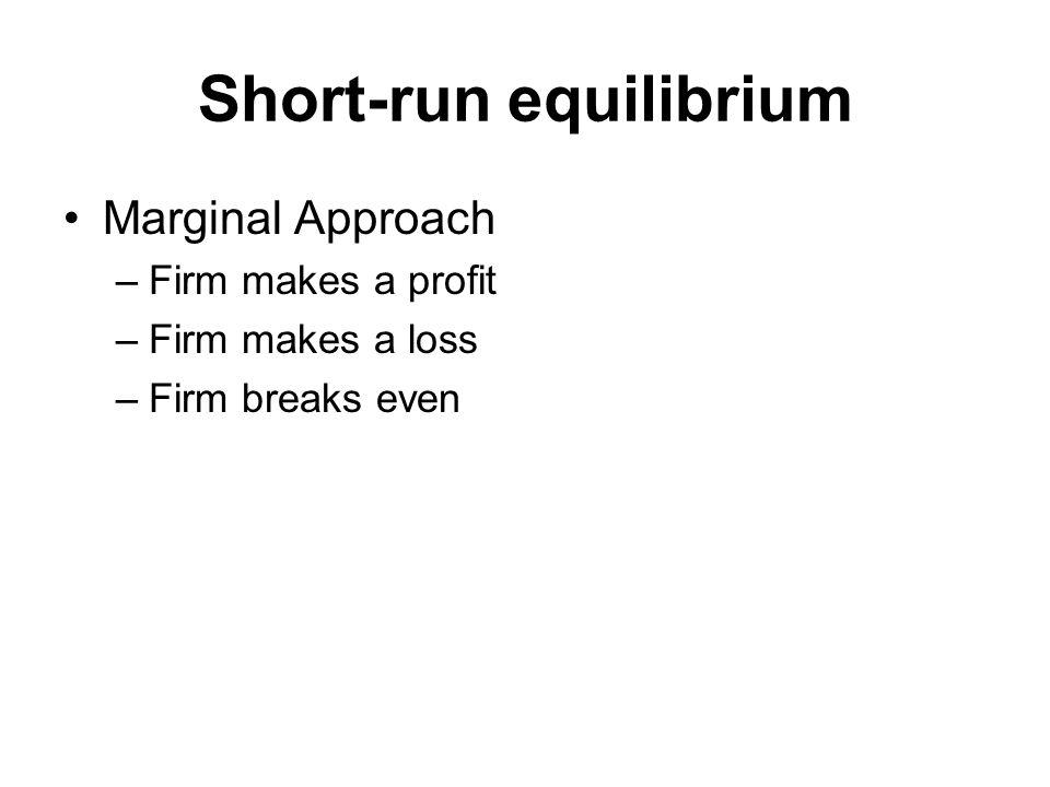 Short-run equilibrium Marginal Approach –Firm makes a profit –Firm makes a loss –Firm breaks even