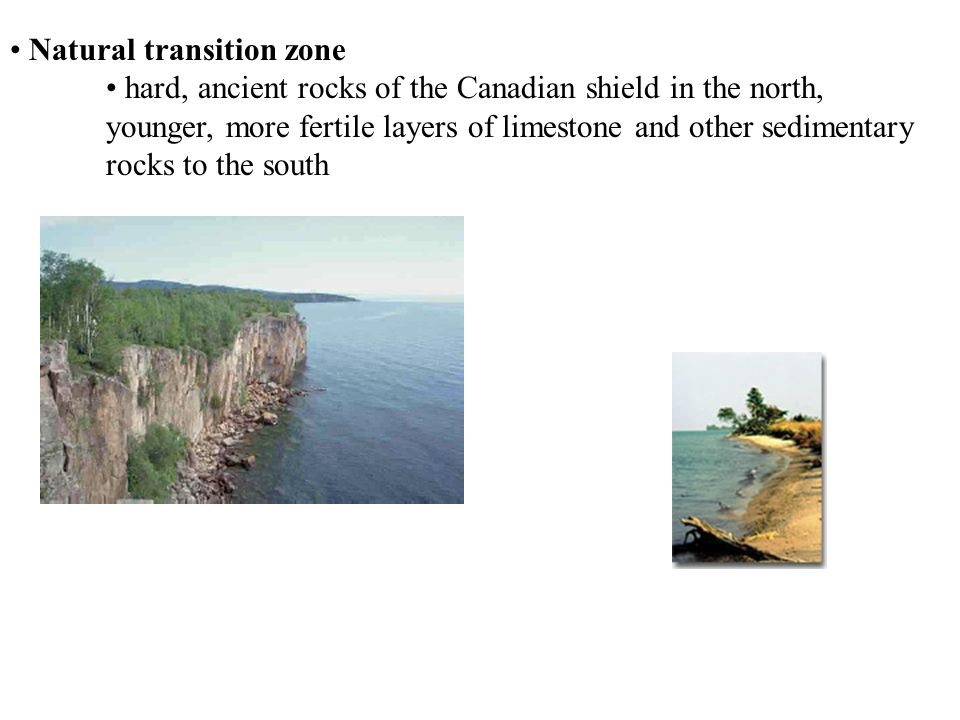 Natural transition zone hard, ancient rocks of the Canadian shield in the north, younger, more fertile layers of limestone and other sedimentary rocks to the south