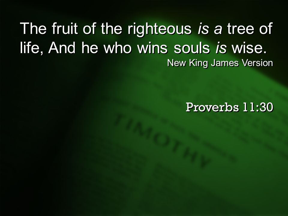 The fruit of the righteous is a tree of life, And he who wins souls is wise. New King James Version Proverbs 11:30 The fruit of the righteous is a tre