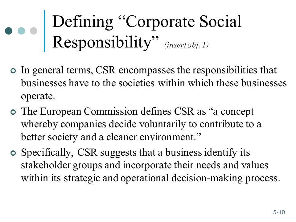 1-10 5-10 Defining Corporate Social Responsibility (insert obj.