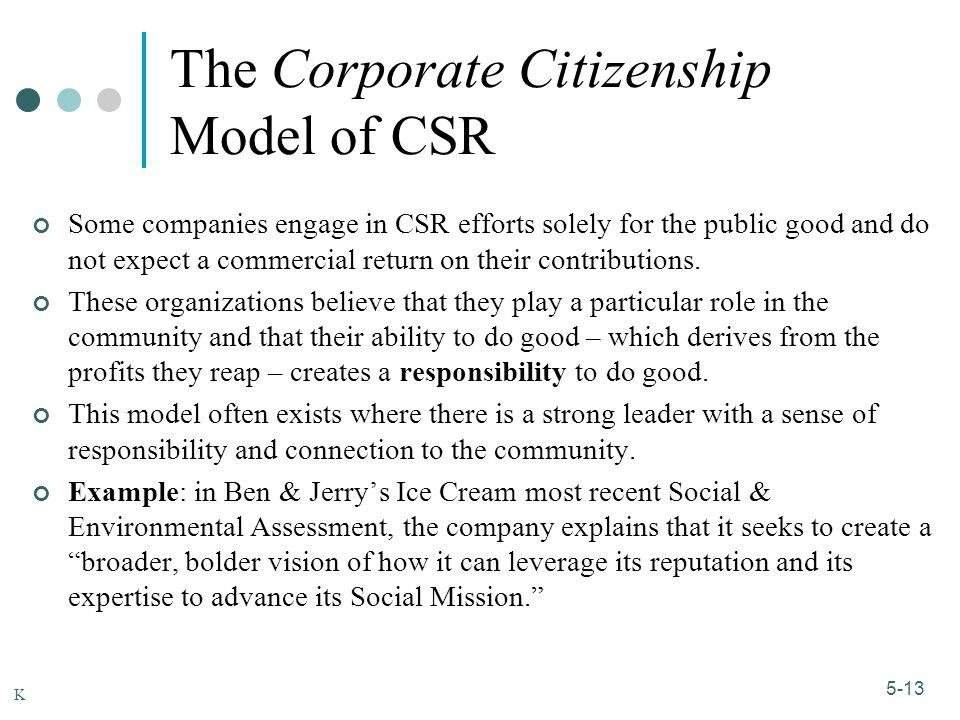 1-13 5-13 The Corporate Citizenship Model of CSR Some companies engage in CSR efforts solely for the public good and do not expect a commercial return on their contributions.