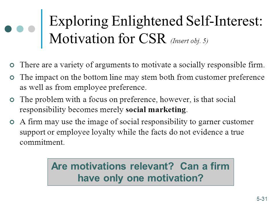 1-31 5-31 Exploring Enlightened Self-Interest: Motivation for CSR (Insert obj.