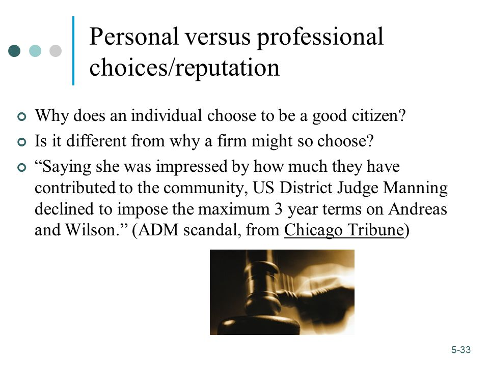 1-33 5-33 Personal versus professional choices/reputation Why does an individual choose to be a good citizen.