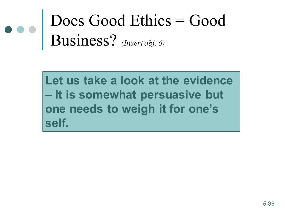 1-36 5-36 Does Good Ethics = Good Business.(Insert obj.