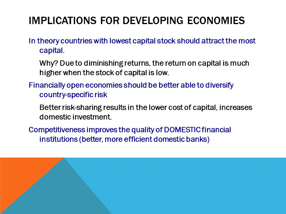 IMPLICATIONS FOR DEVELOPING ECONOMIES In theory countries with lowest capital stock should attract the most capital.