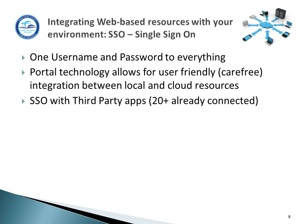  One Username and Password to everything  Portal technology allows for user friendly (carefree) integration between local and cloud resources  SSO with Third Party apps (20+ already connected) 8