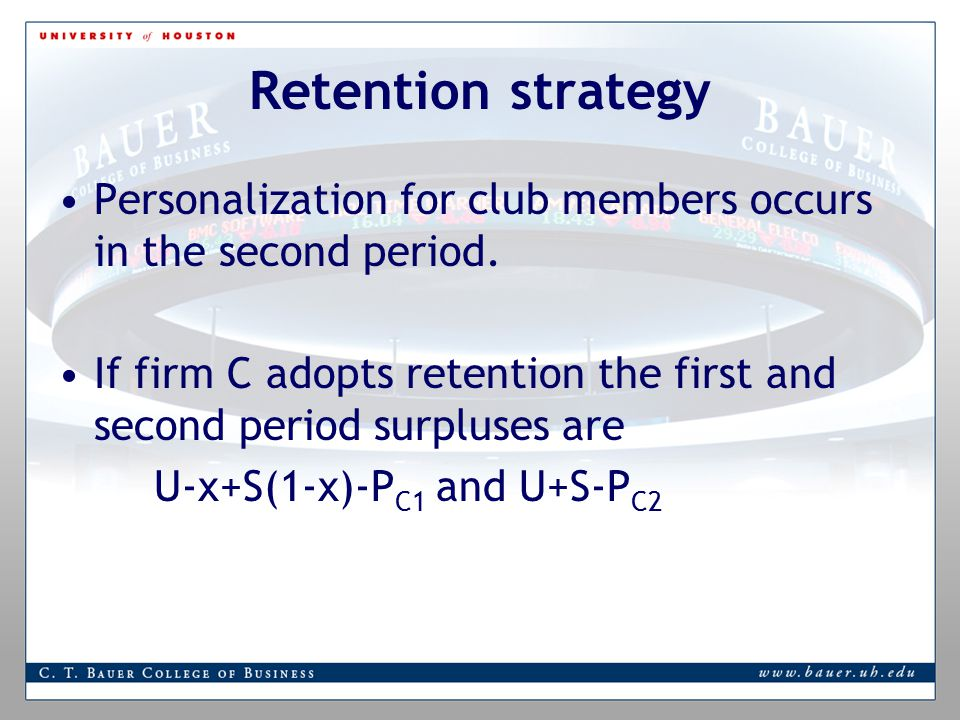Retention strategy Personalization for club members occurs in the second period.