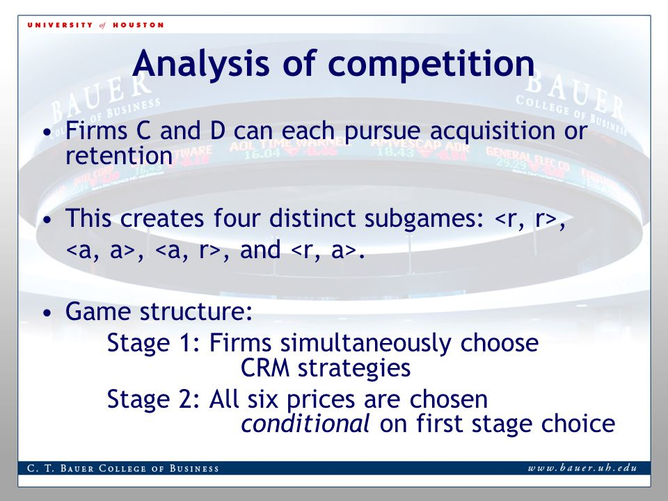 Analysis of competition Firms C and D can each pursue acquisition or retention This creates four distinct subgames:,,, and.