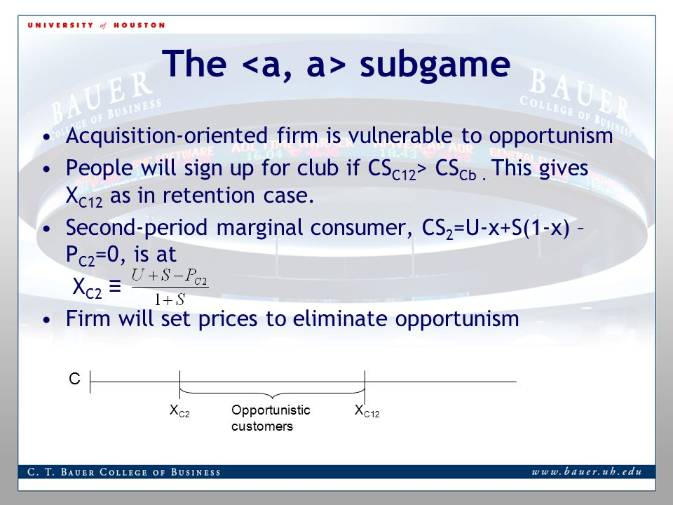 The subgame Acquisition-oriented firm is vulnerable to opportunism People will sign up for club if CS C12 > CS Cb.