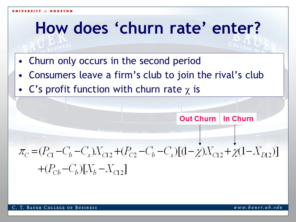 How does 'churn rate' enter.