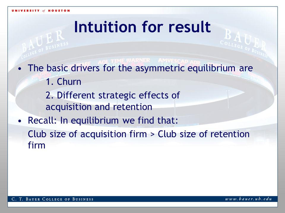 Intuition for result The basic drivers for the asymmetric equilibrium are 1.