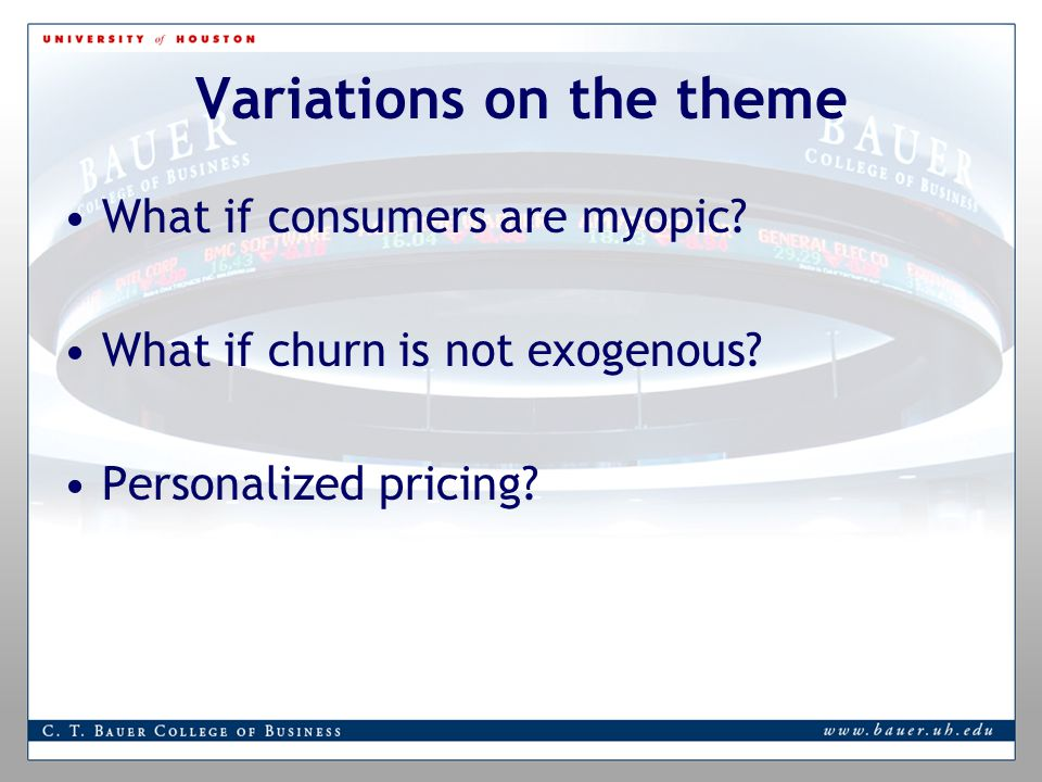 Variations on the theme What if consumers are myopic.