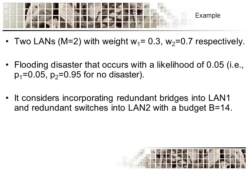 Example Two LANs (M=2) with weight w 1 = 0.3, w 2 =0.7 respectively.