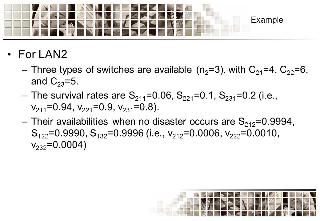 Example For LAN2 –Three types of switches are available (n 2 =3), with C 21 =4, C 22 =6, and C 23 =5.