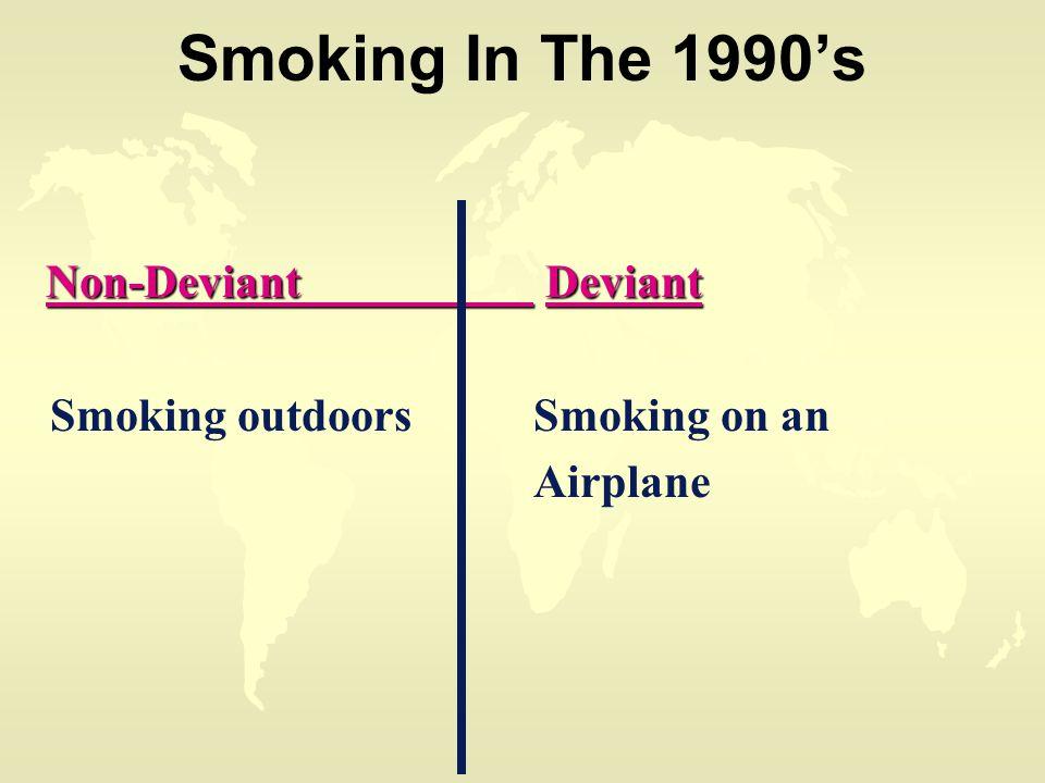 Smoking In The 1990's Non-Deviant Deviant Non-Deviant Deviant Smoking outdoorsSmoking on an Airplane