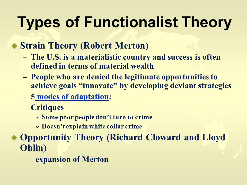 Types of Functionalist Theory u Strain Theory (Robert Merton) –The U.S.