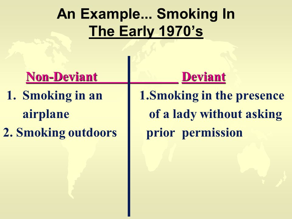 An Example... Smoking In The Early 1970's Non-Deviant Deviant Non-Deviant Deviant 1.