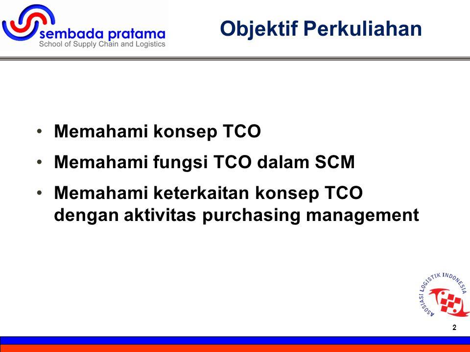 2 Hoetomo Lembito 2 Objektif Perkuliahan Memahami konsep TCO Memahami fungsi TCO dalam SCM Memahami keterkaitan konsep TCO dengan aktivitas purchasing