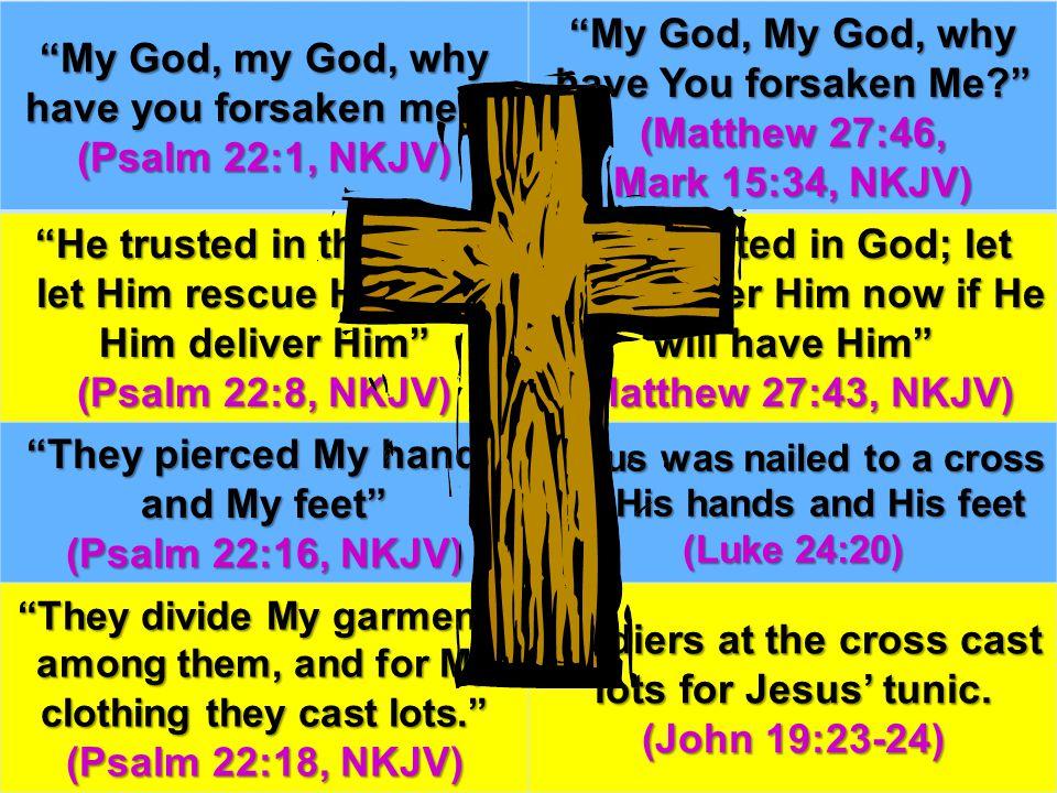 """""""My God, my God, why have you forsaken me?"""" (Psalm 22:1, NKJV) """"My God, My God, why have You forsaken Me?"""" (Matthew 27:46, Mark 15:34, NKJV) """"He trust"""