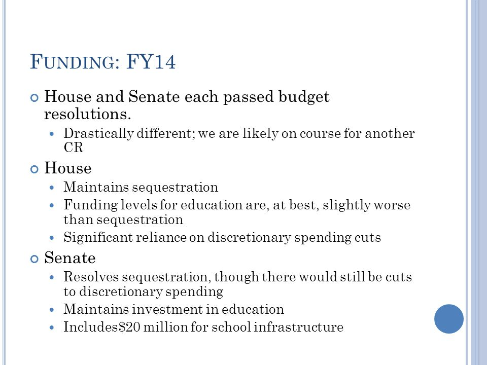 F UNDING : FY14 House and Senate each passed budget resolutions.