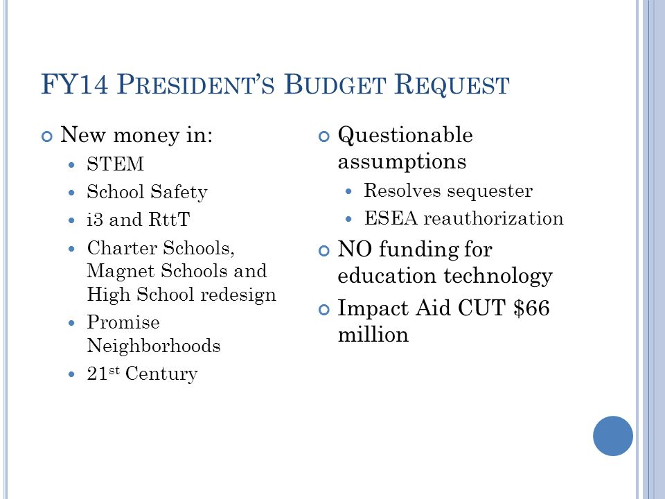 FY14 P RESIDENT ' S B UDGET R EQUEST New money in: STEM School Safety i3 and RttT Charter Schools, Magnet Schools and High School redesign Promise Nei