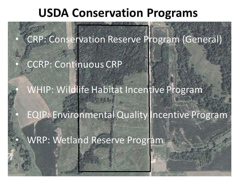 USDA Conservation Programs CRP: Conservation Reserve Program (General) CCRP: Continuous CRP WHIP: Wildlife Habitat Incentive Program EQIP: Environmental Quality Incentive Program WRP: Wetland Reserve Program