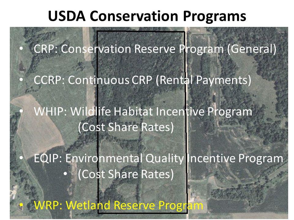 USDA Conservation Programs CRP: Conservation Reserve Program (General) CCRP: Continuous CRP (Rental Payments) WHIP: Wildlife Habitat Incentive Program (Cost Share Rates) EQIP: Environmental Quality Incentive Program (Cost Share Rates) WRP: Wetland Reserve Program