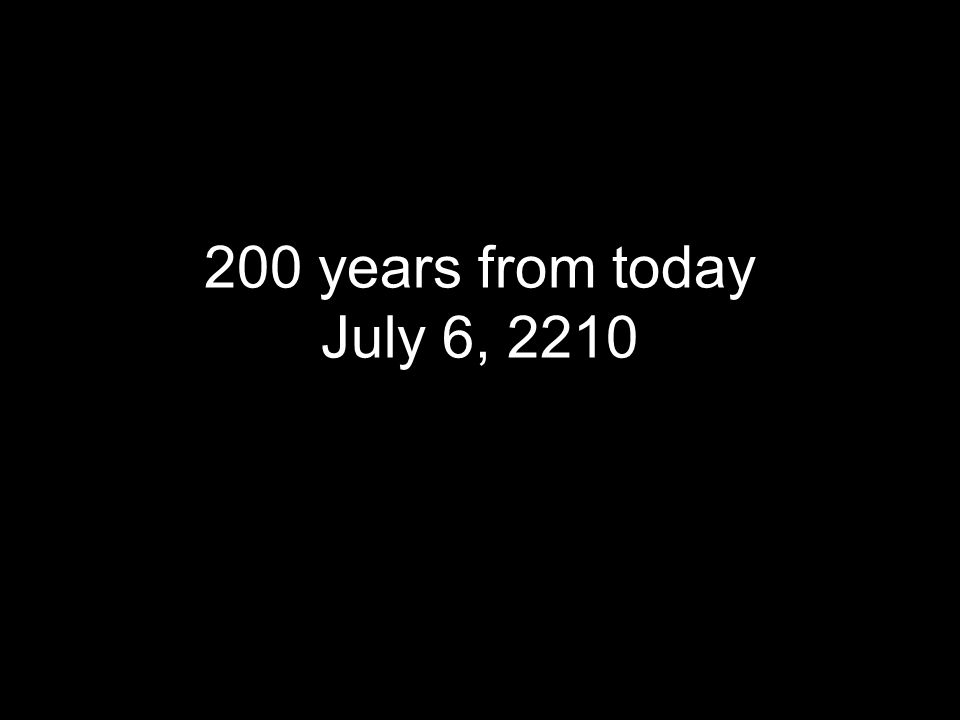 200 years from today July 6, 2210