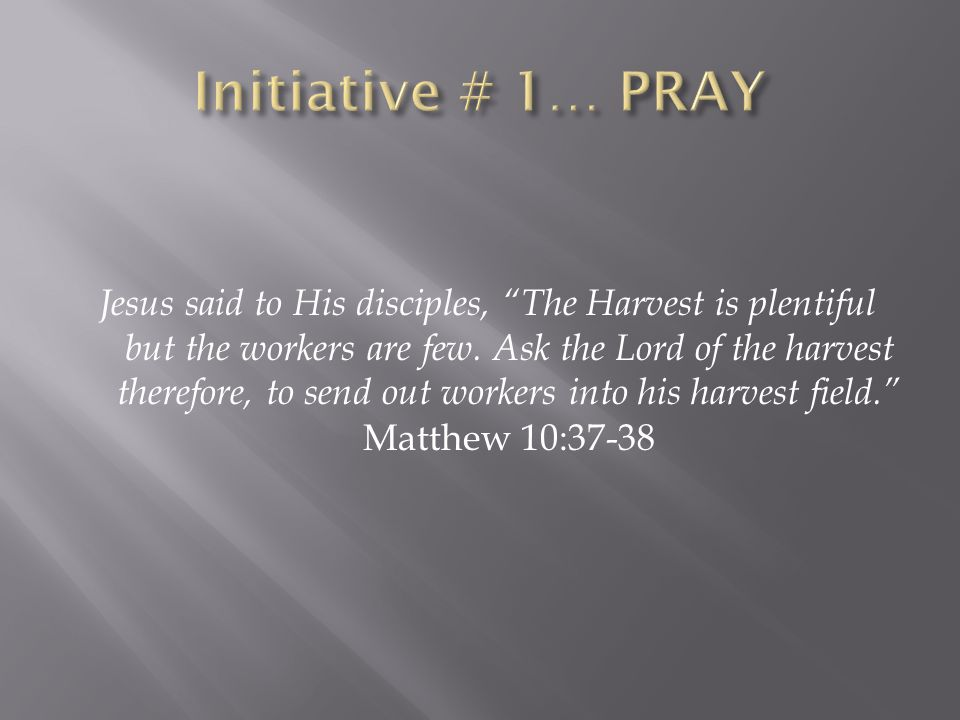Praying for the Harvesters…  WMU Prayer Meetings / SWAT Teams  Henry Blackaby, Experiencing God  Solemn Assembly for the City Praying for the Harvest…  30 Day Prayer Guide for Unreached People  Jericho Prayer Walk (7 intentional weeks)  Pray Down the Walls (John 20:19-20)  Phone Book / Zip Code Praying