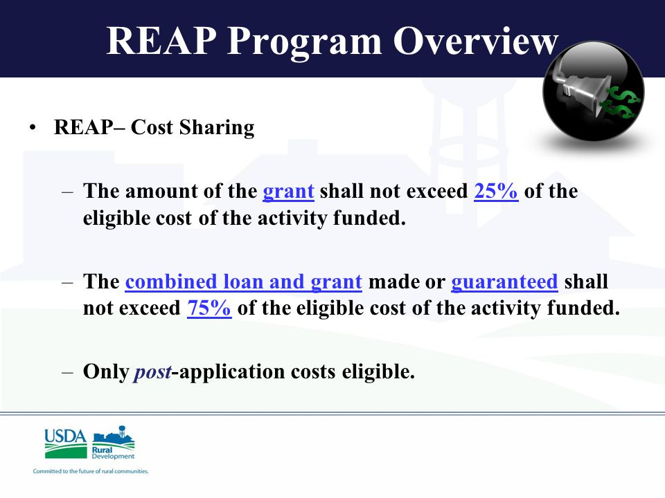 REAP Program Overview REAP– Cost Sharing –The amount of the grant shall not exceed 25% of the eligible cost of the activity funded.
