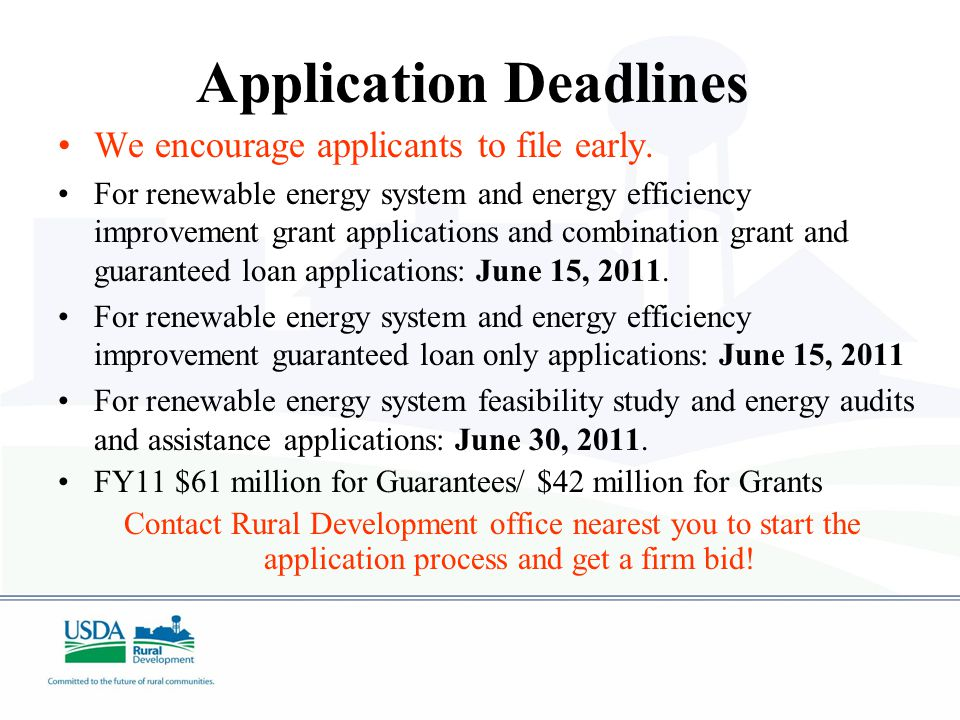 Application Deadlines We encourage applicants to file early.