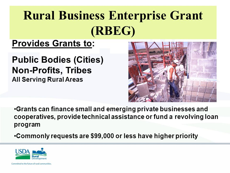 Provides Grants to: Public Bodies (Cities) Non-Profits, Tribes All Serving Rural Areas Rural Business Enterprise Grant (RBEG) Grants can finance small and emerging private businesses and cooperatives, provide technical assistance or fund a revolving loan program Commonly requests are $99,000 or less have higher priority
